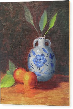 Still Life With Vase And Fruit Wood Print