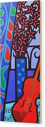 Still Life With Violin Wood Print by John  Nolan