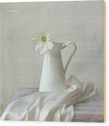 Still Life With White Flower Wood Print by by MargoLuc