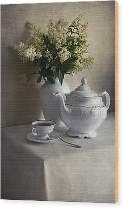 Still Life With White Tea Set And Bouquet Of White Flowers Wood Print