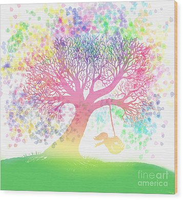 Still More Rainbow Tree Dreams 2 Wood Print by Nick Gustafson
