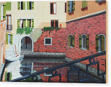 Still, On The Venice Canal, Prints From The Original Oil Painting Wood Print