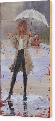 Wood Print featuring the painting Still Raining by Laura Lee Zanghetti