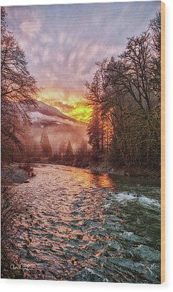 Stilly Sunset Wood Print
