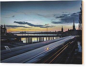 Wood Print featuring the photograph Stockholm Night - Slussen by Nicklas Gustafsson