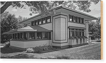 Stockman House - Frank Lloyd Wright - Black And White Wood Print