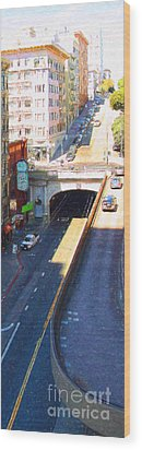 Stockton Street Tunnel In Heavy Shadow . Long Version Wood Print by Wingsdomain Art and Photography