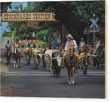 Stockyards Cattle Drive Wood Print by David and Carol Kelly