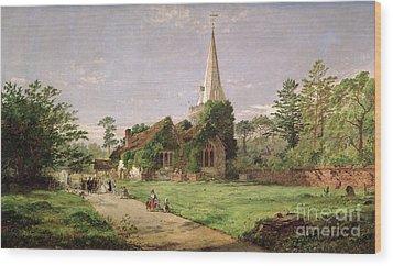 Stoke Poges Church Wood Print by Jasper Francis Cropsey