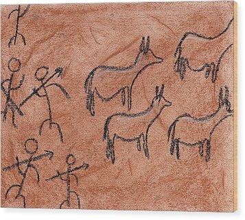 Stone Age Hunt Wood Print