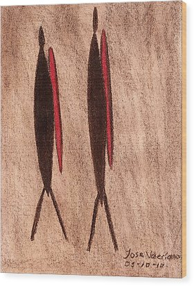 Stone Age Men Wood Print