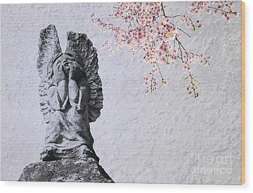 Stone Angel Under Cherry Blossoms Wood Print by Charline Xia