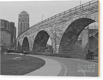 Stone Arch Bridge Wood Print by Alice Mainville