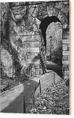 Stone Arch In The Ramble Of Central Park - Bw Wood Print by James Aiken