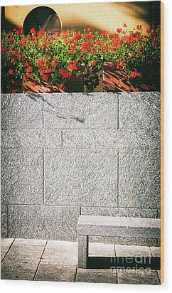 Wood Print featuring the photograph Stone Bench With Flowers by Silvia Ganora