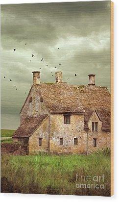 Stone Cottage And Stormy Sky Wood Print by Jill Battaglia