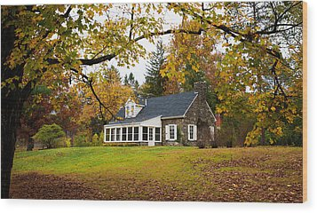 Stone Cottage In The Fall Wood Print by Kenneth Cole