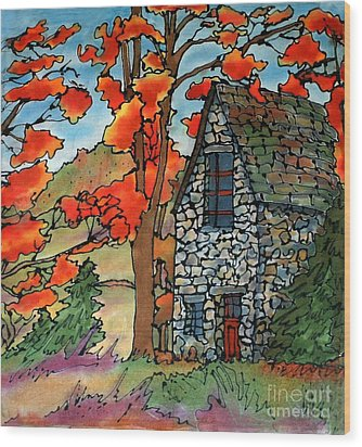 Stone Cottage Silk Painting Wood Print by Linda Marcille