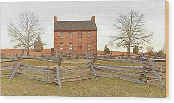 Stone House / Manassas National Battlefield / Winter Morning Wood Print by Digital Photographic Arts