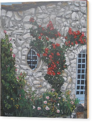 Wood Print featuring the painting Stone House Menton  France by Betty-Anne McDonald