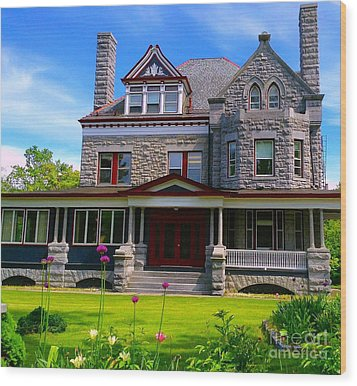 Wood Print featuring the photograph Stone Mansion Garden by Becky Lupe