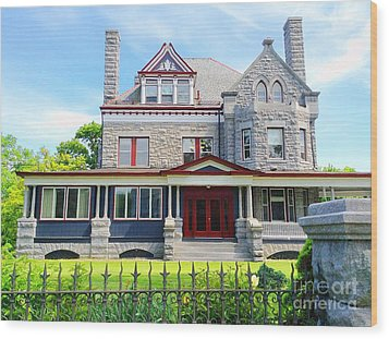 Wood Print featuring the photograph Stone Mansion Red Doors by Becky Lupe