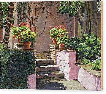 Stone Patio California Wood Print by David Lloyd Glover