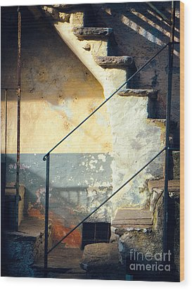 Wood Print featuring the photograph Stone Steps Outside An Old House by Silvia Ganora