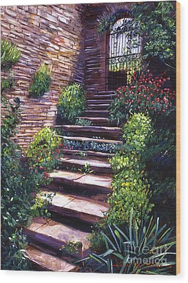Stone Steps Tuscany Wood Print by David Lloyd Glover