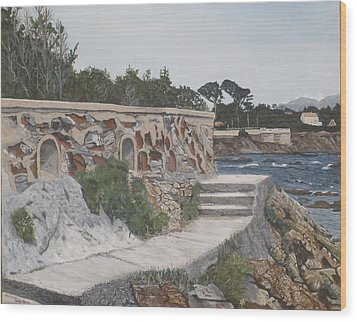 Wood Print featuring the painting Stone Wall France by Betty-Anne McDonald
