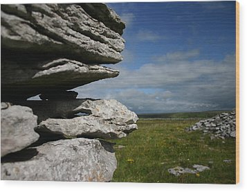 Stone Wall In The Burren Wood Print by Martina Fagan