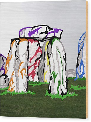 Wood Print featuring the mixed media Stonehenge Chakras by Mary Mikawoz