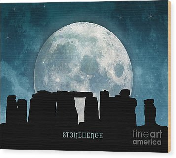 Wood Print featuring the digital art Stonehenge by Phil Perkins