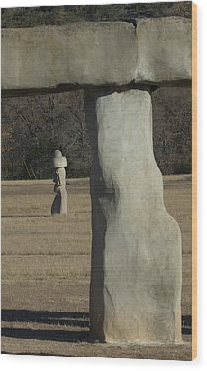 Wood Print featuring the photograph Stonehenge Two Meets Easter Island by Karen Musick