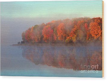 Stoneledge Lake Pristine Beauty In The Fog Wood Print by Terri Gostola
