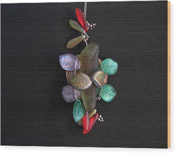 Stones And Leaves Wood Print by Judith Z Miller