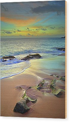 Wood Print featuring the photograph Stones In The Sand At Sunset by Tara Turner