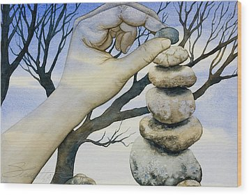 Stones Wood Print by Sheri Howe