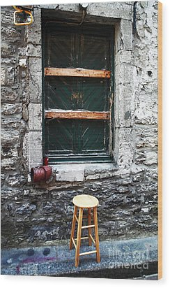 Stool Wood Print by John Rizzuto