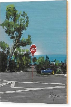 Stop Wood Print by Russell Pierce