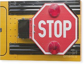 Stop Sign On School Bus Wood Print by Andersen Ross