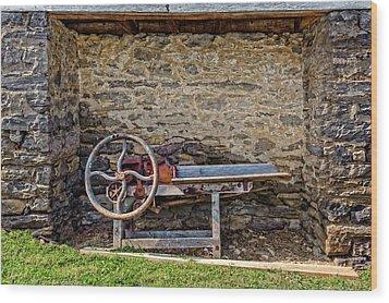 Wood Print featuring the photograph Storage Cove On An 1803 Amish Corn Barn  -  1800scornshellingmachine172835 by Frank J Benz