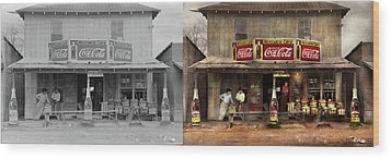 Wood Print featuring the photograph Store - Grocery - Mexicanita Cafe 1939 - Side By Side by Mike Savad
