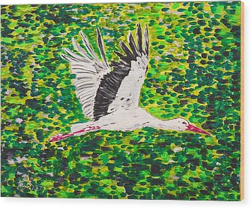 Stork In Flight Wood Print