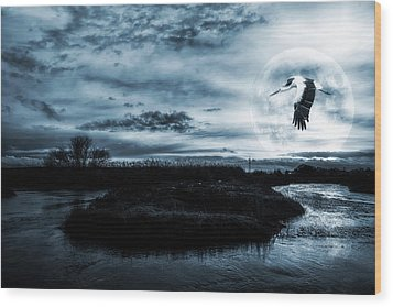 Wood Print featuring the photograph Stork In Moonlight by Jaroslaw Grudzinski