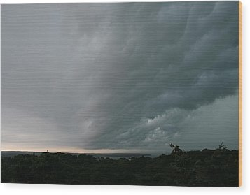 Storm Approaches Montauk Wood Print by Christopher Kirby