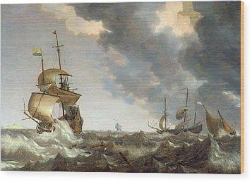 Storm At Sea Wood Print by Bonaventura Peeters