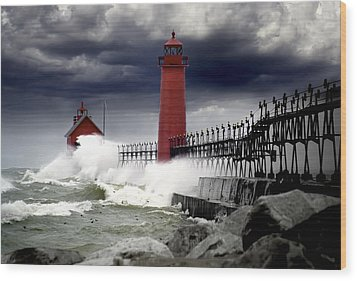 Storm At The Grand Haven Lighthouse Wood Print by Randall Nyhof