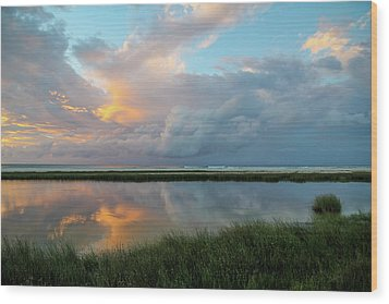 Storm Cloud Reflections At Sunset Wood Print