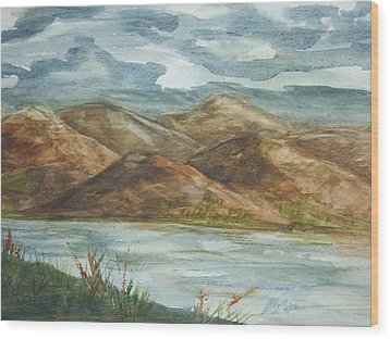 Wood Print featuring the painting Storm Clouds by Ellen Levinson